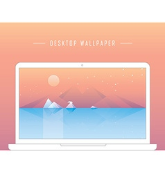 Smooth polygonal landscape design with laptop vector