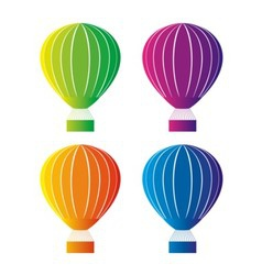 Color hot air balloon vector