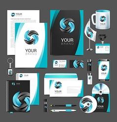 Stationery design set black turquoise corporate vector image