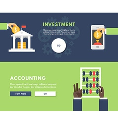 Flat Design Concept for Web Banners Investment vector image