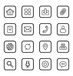 Black line web icon set rounded rectangle vector