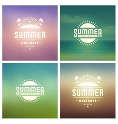 Summer holidays retro typography labels or badges vector