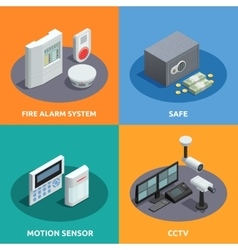 Home security isometric 4 icons square vector