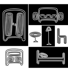 a set of stylized furniture vector image