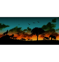 African and animals background vector