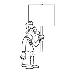 Black and white happy business man with sign vector image vector image