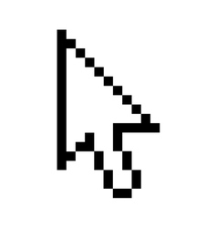 Black outline pixelated cursor arrow vector