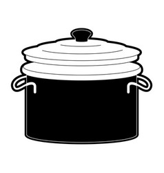 cooking pot with lid black silhouette vector image