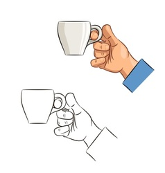 Cup of coffee in hand vector image vector image
