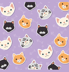Cute cats pets friendly pattern background vector