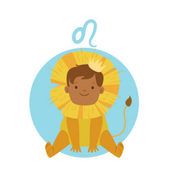 Cute little boy as leo astrological sign vector