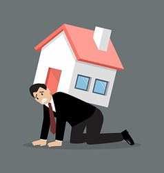 Desperate businessman carry a heavy home vector image vector image