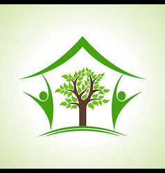 Eco home icon with tree and persons vector image vector image