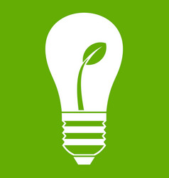 ecology idea bulb with plant icon green vector image