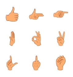 Gestural icons set cartoon style vector