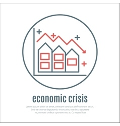 icon on a theme of economic crisis with house vector image vector image