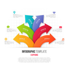 Infographics with 6 option branching circular vector