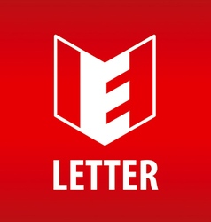 Logo the letter e in the open book vector