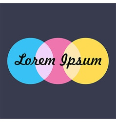 Logo with Three Colorful Circles over Dark Blue vector image