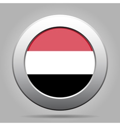 metal button with flag of Yemen vector image