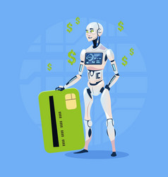 Modern robot hold credit card futuristic vector