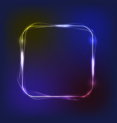 neon glowing frame with light blue and lilac vector image