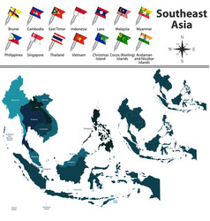 Political map of southeast asia vector