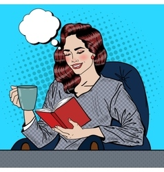 Pop Art Woman Reading Book and Drinking Coffee vector image