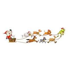 Santa and animals vector