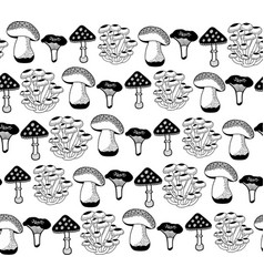 Seamless pattern with autumn mushrooms for vector