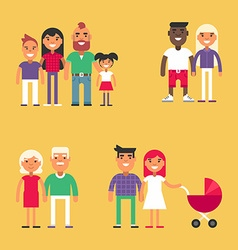 Set of family concept flat style people set for vector