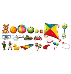 Set of many colorful toys vector