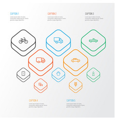 Shipment outline icons set collection of camion vector