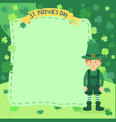 st patrick day boy notes greeting card clover vector image vector image