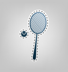 Tennis racquet sign blue icon with vector