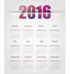 The 2016 calendar vector