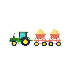 Tractor with seeding machine icon vector