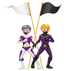 Two superheroes with empty banners vector image vector image