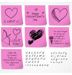 Valentines day sticky notes vector
