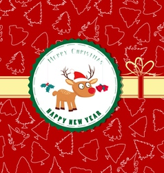 Vintage retro christmas label with deer vector