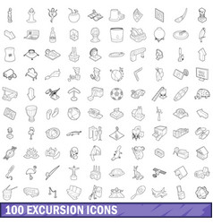 100 excursion icons set outline style vector