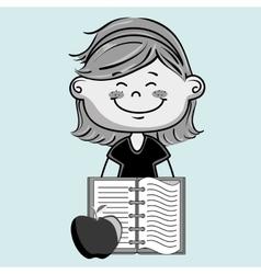 Cartoon girl notebook icon vector