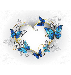 jewelry heart with butterflies morpho vector image