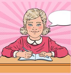 Pop art smiling schoolgirl doing homework vector