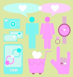 Create love and date items for lover vector