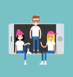 Millennial friends sitting and standing inside vector