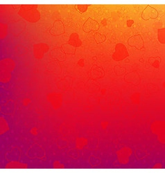 Red And Orange Background With Red Hearts vector image