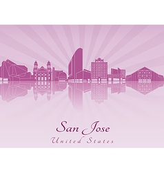 San jose skyline in purple radiant orchid vector