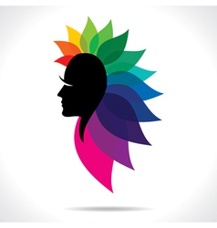 Colorful leaf women head vector