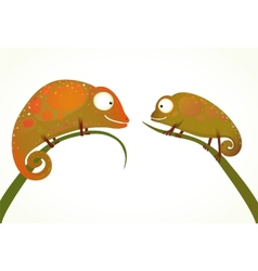 Two colorful lizards sitting on grass animal vector